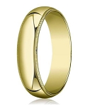 Beaded Edge Men's Designer 18K Yellow Gold Wedding Band | 6mm