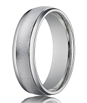Men's Designer Wedding Ring in 18K White Gold, Sand Blasted | 4mm