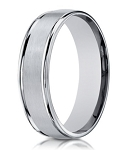 18K White Gold Wedding Band for Men With Double Ridge Edges | 6mm