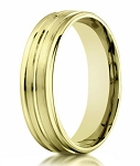 Men's 18K Yellow Gold Designer Wedding Band, Polished Groove | 6mm