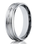 18K White Gold Designer Men's Wedding Ring, Center Groove | 6mm