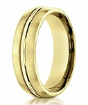 Men's Designer 18K Yellow Gold Wedding Band, Polished Center | 4mm
