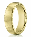 18K Yellow Gold Designer Men's Ring with Rivet Coin Edges | 7.5mm