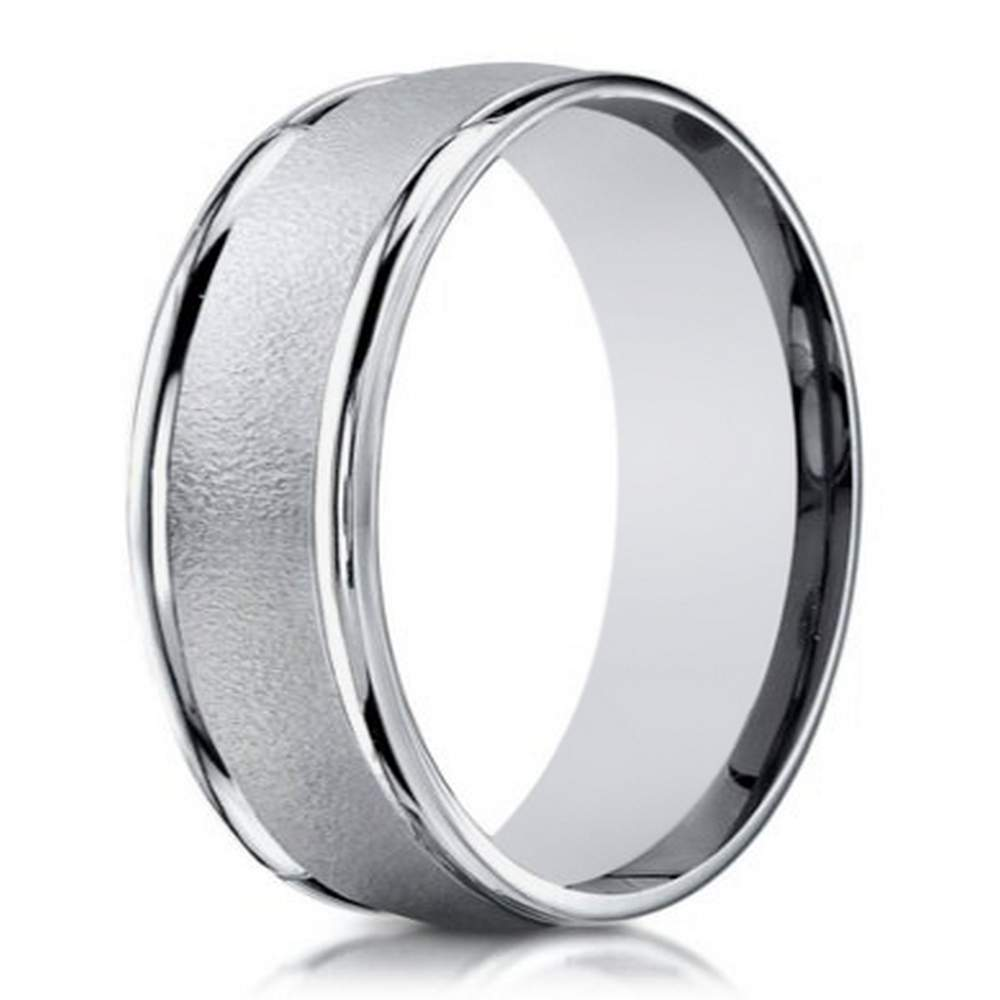 6mm Mens Sand Blasted 18k White Gold Designer Wedding Band