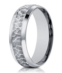 Designer Men's 14K White Gold Ring with Hammered Center | 7.5mm