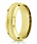 7.5mm Men's 18k Satin Finish Yellow Gold Designer Wedding Ring
