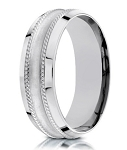7.5mm Men's Glass Finish 18k White Gold Wedding Ring