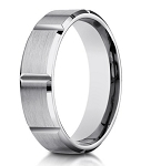 14K White Gold Designer Men's Ring with Vertical Grooves | 6mm