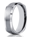 Designer 14K White Gold Ring for Men with Squared Profile | 7mm