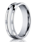 14K White Gold Designer Wedding Band for Men, Carved Design | 6mm