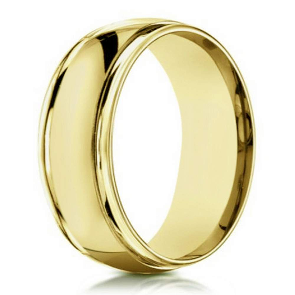 14 k yellow gold traditional wedding band for 6mm width