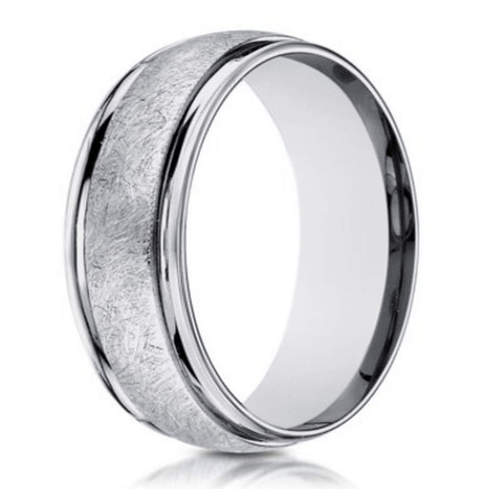 Designer Mens 14K White Gold Wedding Band