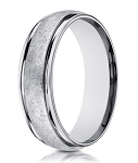 Designer 14K White Gold Wedding Band for Men, Wired Finish |  6mm