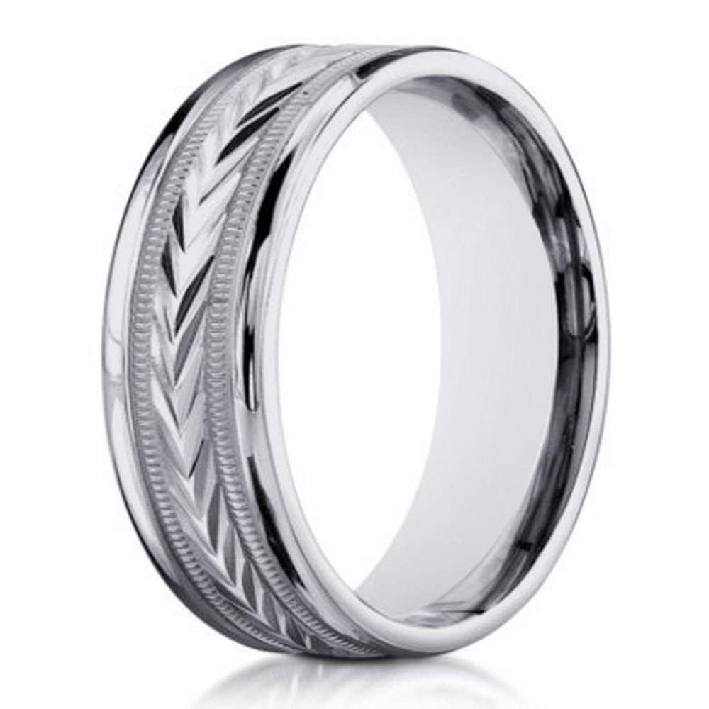 14K White Gold Designer Wedding Band For Men