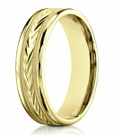 Men's 14K Yellow Gold Wedding Ring With Carved Arrow Design | 6mm