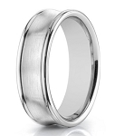 Designer 14K White Gold Concave Wedding Ring for Men | 7.5mm