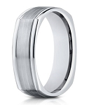 14K White Gold Men's Ring With Polished Square Edges | 7mm