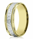 Two Tone Men's 14K Yellow Gold Wedding Ring, Hammered Center | 8mm
