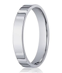 14K White Gold Designer Men's Wedding Ring With Flat Profile, 4mm