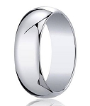 14K Men's White Gold Designer Wedding Band With Polished Dome, 10mm