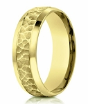 Designer Men's Hammered Ring in 14K Yellow Gold | 7.5mm