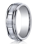 Designer Cobalt Chrome Vertical Notches Wedding Ring with Satin Finish | 7mm - JBCB1003