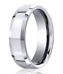 Designer Cobalt Chrome Beveled Edge Wedding Ring with Polished Finish | 7mm - JBCB1005