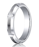 Designer Cobalt Chrome Vertical Notches Wedding Ring with Satin Finish | 5mm - JBCB1006
