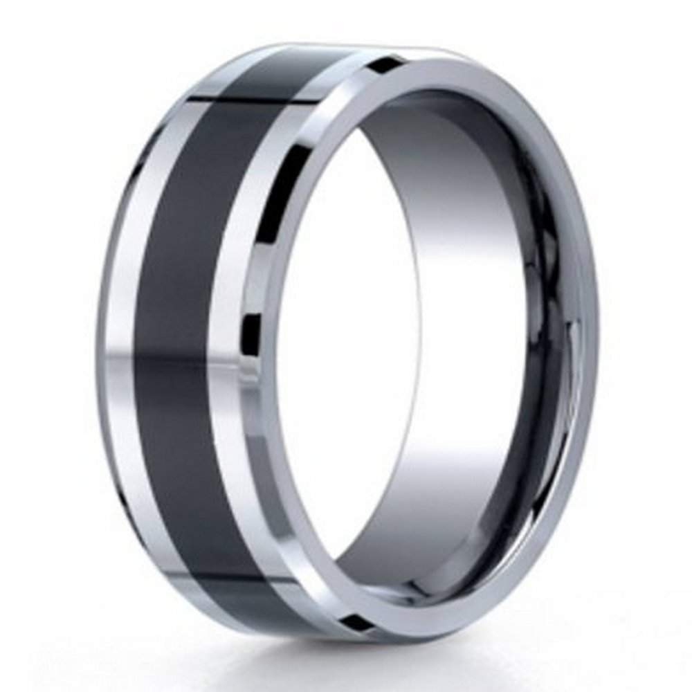 Men S Cobalt Chrome Wedding Band With Black Ceramic Inlay 7mm