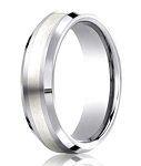 Designer Cobalt Chrome Men's Wedding Ring With Silver Inlay | 7mm
