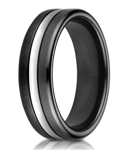Designer Black Ceramic Men's Wedding Ring With Cobalt Chrome | 7.5mm