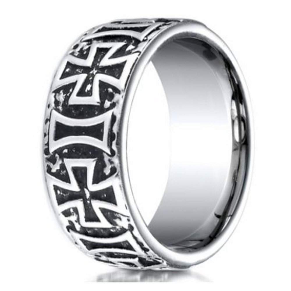 Men s Cobalt Chrome Ring w  Maltese Crosses   JustMensRings com. Mens Cross Wedding Band. Home Design Ideas