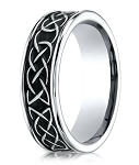 Men's Cobalt Chrome Designer Ring with Celtic Knot Pattern | 7mm