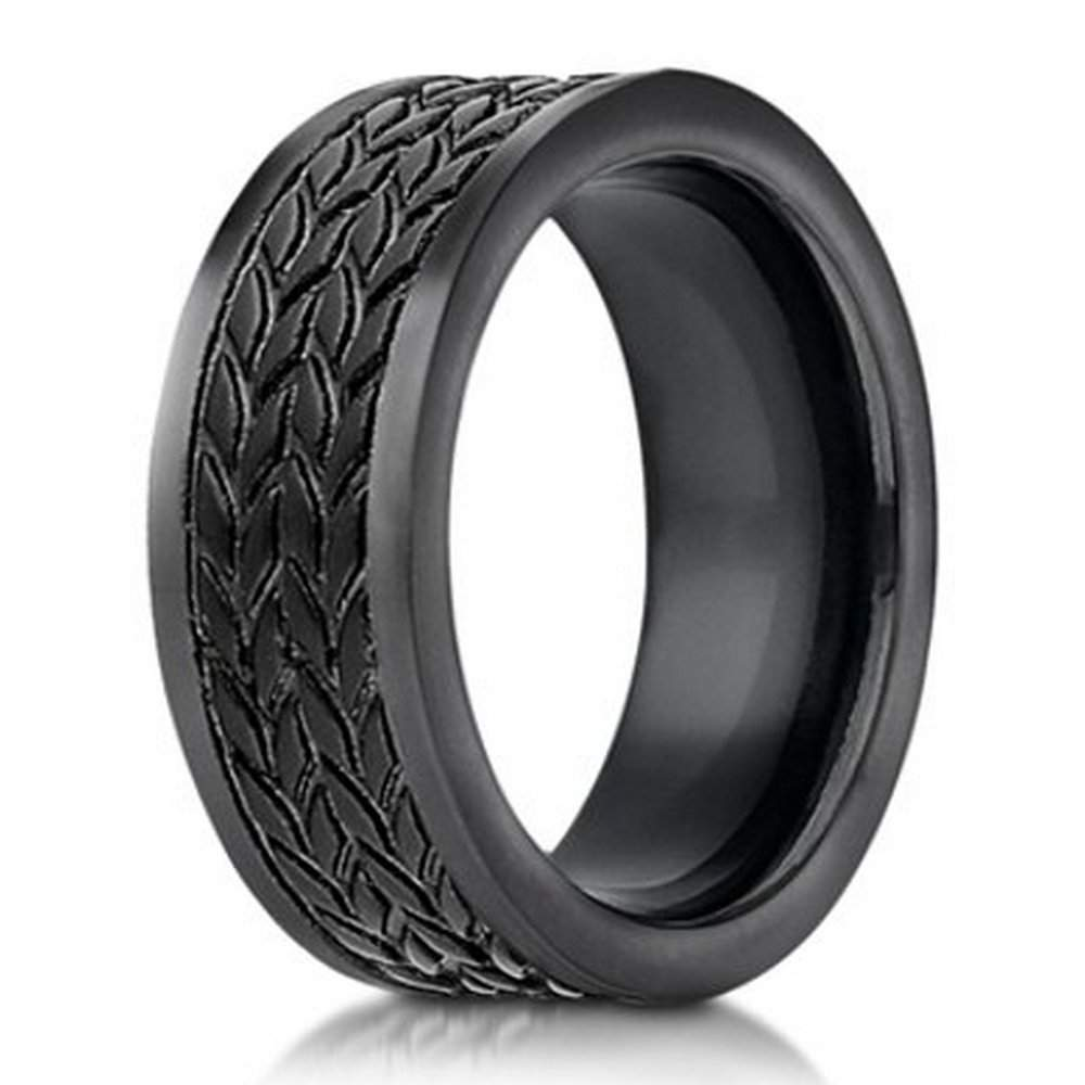 Designer Cobalt Chrome Men S Ring Tire Tread Pattern 7 5mm