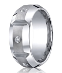 Designer Cobalt Chrome Men's Grooved Wedding Ring With Diamonds | 10mm