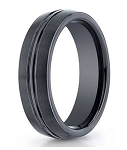 Men's Black Seranite Wedding Ring with Polished Groove | 6mm - JBCS1001
