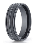 Men's Seranite Wedding Ring with Three Polished Grooves | 8mm - JBCS1006