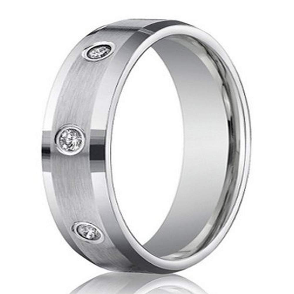 Mens 6mm White Gold Diamond Wedding Ring With 8 Round Cut Diamonds