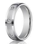 Men's White Gold Diamond Wedding Ring with 8 Round Cut Diamonds | 6mm - JBD1002