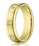 Men's 14K Yellow Gold Diamond Wedding Ring with 8 Round Diamonds | 4mm - JBD1005
