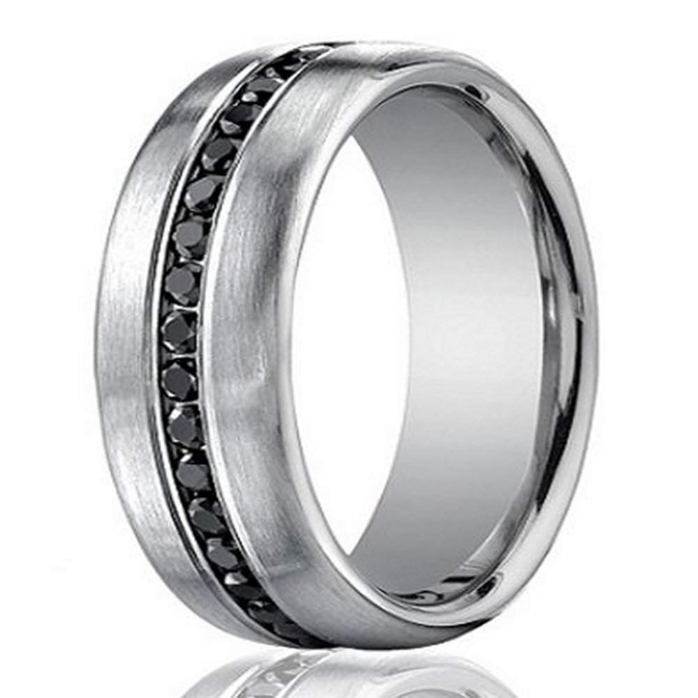 Designer 14K White Gold Men s Eternity Band Black Diamond 7 5mm