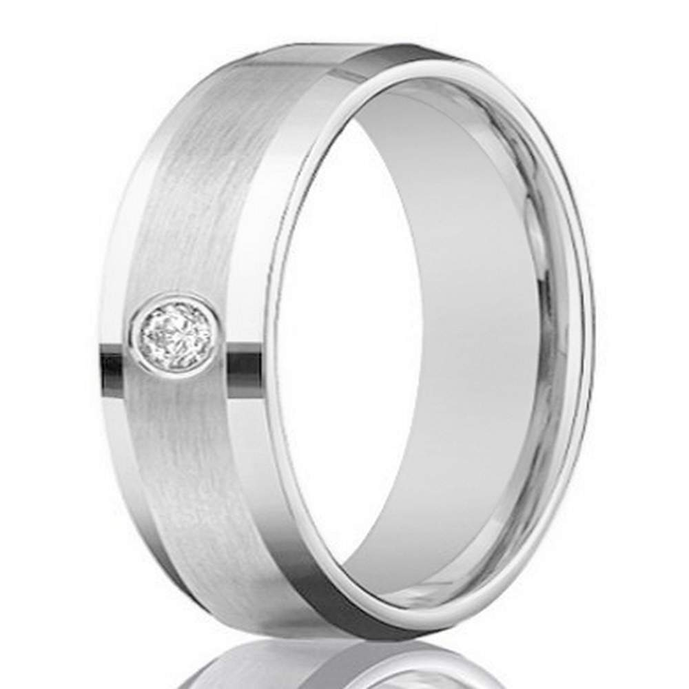 Mens 4mm 14k White Gold Diamond Band With Satin Finish