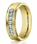 Men's Designer Diamond Wedding Ring in 14K Yellow Gold | 6mm