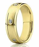 14K Yellow Gold Men's Designer Wedding Band, Bezel Set Diamonds | 6mm