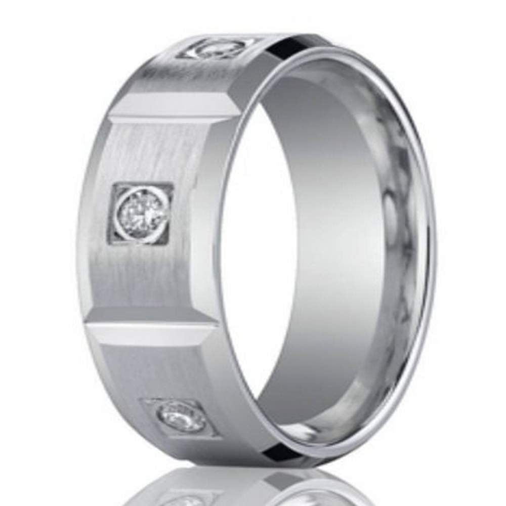 Contemporary Bands: 8mm Contemporary Diamond Eternity White Gold Wedding Band