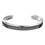 Men's Titanium Cuff Bracelet with Carbon Fiber Inlay - JBR1005