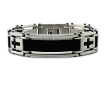 Men's Stainless Steel Bracelet With Four Cross Design