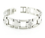 Men's Stainless Steel Bracelet With Cross Links and CZ Accents