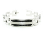 Stainless Steel Men's Bracelet With Black Cable Inlay and CZ