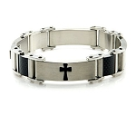 Stainless Steel Men's Bracelet With Black Resin Crosses